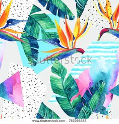 Abstract tropical summer design in minimal style. Water color background with elements. Watercolor Texture, Watercolor Background, Art Studio Organization, Grunge, Color Pencil Art, Summer Design, Exotic Flowers, Minimal Style, Art Drawings