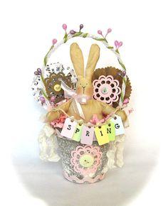 Peat Pot Easter Basket Bunny Rabbit castteam by TatteredTreasures1, $25.00