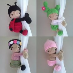 child room Dolls Curtain Tieback Baby girl - Baby boy - Ladybug - Cactus - Baby Lamb - Snowman - Sweet baby - Gingerbread - BabyPanda Tiebacks, curtain tie backs is the perfect touch for th Baby Lamb, Baby Boy, Crochet Dolls, Crochet Baby, Amigurumi Patterns, Crochet Patterns, Accessoires Barbie, Crochet Curtains, Baby Girl Dolls