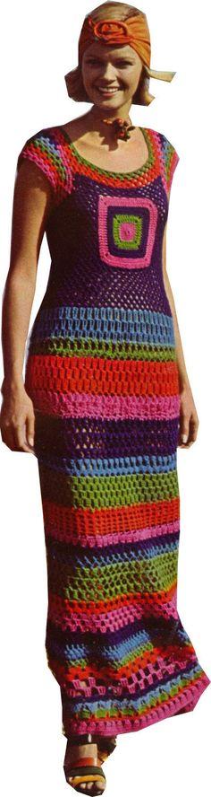 Vintage Boho~Chic Hippie Dress: crochet pattern for purchase