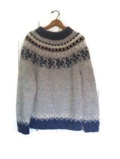 vintage Wool fair isle sweater icelandic nordic hand knit gray blue black