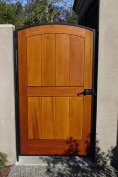 Wood Gate With Steel Surround, Hinge Post, Latch Hardware, And Latch Post