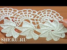 Crochet Spider Web Lace Tutorial 23 часть 1 из 2 Ленточное кружево с пау...