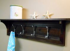 Entryway Mudroom Reclaimed Rustic Wall Mounted Coat Rack 4 Hooks