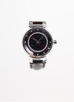 "Stainless Steel and Maroon Monogram Leather Louis Vuitton ""Tambour Disc 34mm"" Watch"
