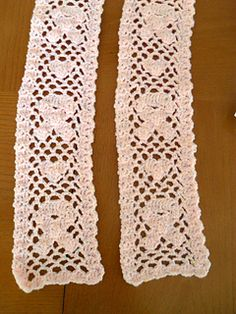 Here is filet crochet turned on the side. The Shells and half shells make the design, and empty loops are the background. The piece is made from the bottom up in 2 parts, with a photo tutorial on the back join. (Along with complete written instructions).