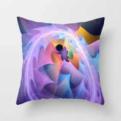 Cyclone of feelings, colourful fractal abstract Throw Pillow by Thea Walstra | Society6