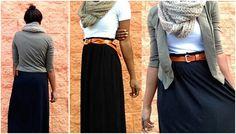 maxi skirt and cardigan. Fun way to tie belt