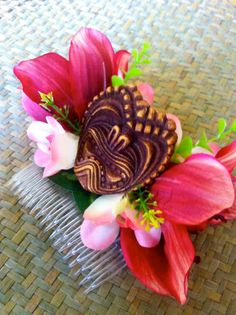 Exotic Tropical Red Orchid Hair Comb with Tiki for by FancyFruits
