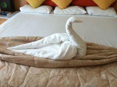 Towel art at resort in Mexico