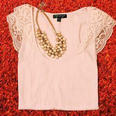 Beautiful Topshop Lace Top Gorgeous lace detail, excellent condition! Soft pink color. 100% cotton. Topshop Tops