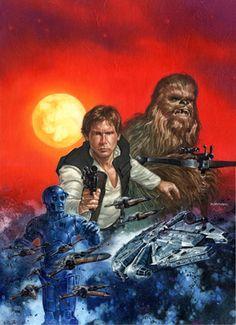 Star Wars: Han Solo and Chewbacca - artist? Star Wars Art, Star Trek, Star Wars Legacy, Han Solo And Chewbacca, War Comics, Star Wars Collection, Love Stars, Sci Fi Art, S Star