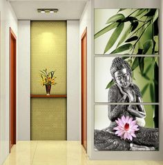 3 Panel Abstract Printed Hotoke Buddhism Buddha Oil Painting Picture Cuadros Decor Buda Canvas Art For Bed Room Unframed Artwork(China (Mainland))