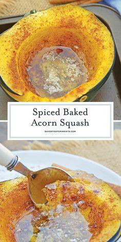 Baked Acorn Squash - A Delicious Roasted Acorn Squash Recipe Vegetable Dishes, Vegetable Recipes, Vegetarian Recipes, Acorn Squash Recipes Healthy, Acorn Squash Recipe Microwave, Baked Squash Recipes, Acorn Squash Baked, Butternut Squash, Butter Squash Recipe