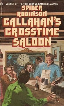 Callahan's Crosstime Saloon by  Spider Robinson, published in 1977, first in the Callahan series. A collection of stories. Time-travellers, aliens, and a host of others find their way to Callahan's, and the result is as full of humor, wit and sensitivity as anything you have ever read.