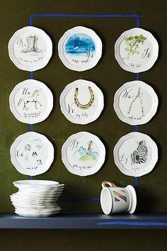 Slide View: 5: Calligrapher Monogram Canape Plate