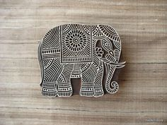 Indian Elephant Textile / Paper Stamp  Wooden by theDelhiStore