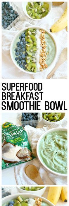 Superfood Breakfast Smoothie Bowl - vegan, gluten free, and super nourishing. Made with spirulina, banana, pineapple and your favorite crunchy toppings. Smoothie Bowl Vegan, Raspberry Smoothie, Superfood Recipes, Healthy Recipes, Smoothie Recipes, Healthy Foods, Healthy Breakfasts, Vegetarian Recipes, Spirulina