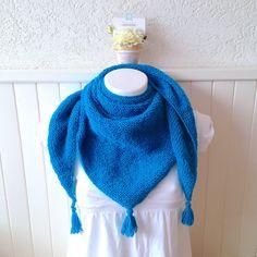 Chèche, châle en laine 100% alpaga, bleu turquoise foncé, tricoté mains   5bf188d6c74