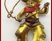 "Vintage Brooch Pin BIG Cowboy Rodeo Figural Red Enamel Paint & Gold Metal C Clasp 2.5"" VG"