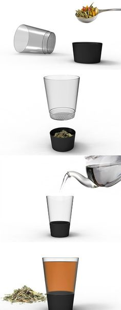 An alternative to messy drop-in tea brewers, ZaDno is an all-in-one tea serving solution where you drop in the water. Simply fill the strainer with the tea leaves of your choice, attach the glass and enjoy. Super easy to clean, just separate the top, dump the wet leaves and rinse! #Tea #Brewer #Yankodesign
