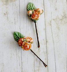 Tangerine Rose Trio Flower Hair Pins. by rosesandlemons on Etsy