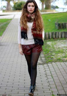 Wine Red Elastic Waist Loose Leather Shorts -SheIn(Sheinside)