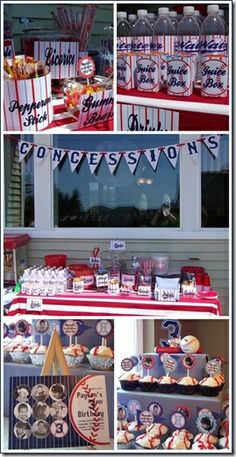 Baseball end of the season party as team mom. I can make concessions sign at school on die cut. Hot dogs chips drinks cake ball baseball pops and chewing gum as party favors! Lol! Love!