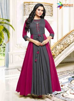 be44eb70325720 Shop Glorious Embroidered Work Grey And Hot Pink Fancy Fabric Party Wear  Kurti