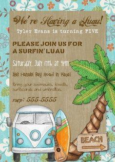 Surf Shack Birthday Party Invitation  5x7 by PhotoGreetings, $15.00