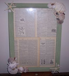 Distressed Crackle Antique Style Green Frame Decorated with Sea Shells, Sand Dollars, and Starfish with Vintage Dictionary Prints
