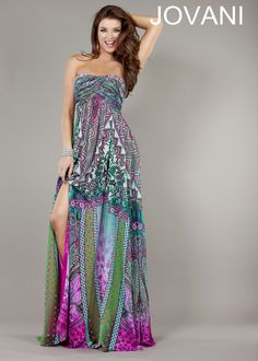 If you want that boho chic look..this would be perfect! Strapless Multi Color Print Bohemian style Dress - Prom Dresses 2013 - Jovani 6769 - RissyRoos.com