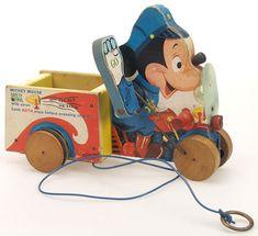 FISHER PRICE | ancien jouet à tirer // vintage pull toy ✭ Mickey Mouse Safety Patrol, 1950s ✭ via Musée du Jouet de Bruxelles ✭ mid century kids design