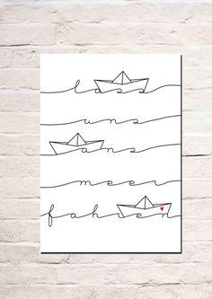 Digitaldruck - Lass uns ans Meer fahren - ein Designerstück von Haus-nr-26 bei…