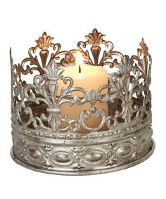 Take a look at this Antique Silver Crown Small Candleholder by Designs Combined Inc. on #zulily today!