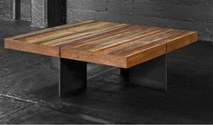 Alec Industrial Coffee Table | Reclaimed Wood Iron Base Square Coffee Table| Bina | Zin Home