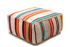 Gorgeous Kilim Pouf, refashioned from a high quality, vintage, heavy wool blanket, Blankets have been hand woven by Berber women from Moroccos High Atlas Mountains for their own homes. Each one is unique and one-of-a-kind, no two are ever the same! Versatile and and wonderfully practical, your pouf will add a dash of color and style to your interior decor.  ✧ Size: 28 x 28 x 12 (70 x 70 x 30 cm) ✧ Insert: Pouf comes WITHOUT insert. You can purchase from us a custom made insert (Size Large)…