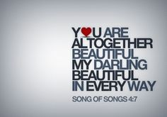 NRSV reads: You are altogether beautiful, my love; there is no flaw in you.