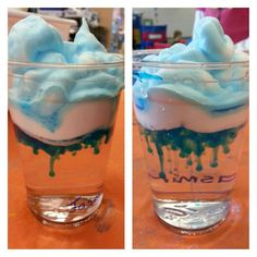 Cloud in a cup! Perfect way to explain how it rains. Water, shaving cream and food coloring.