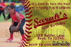 Softball Birthday Party Invitation by SisterSisterPandC on Etsy