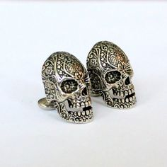 Sugar Skull Cufflinks in Oxidized Sterling Silver Overlay by mrd74