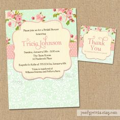 Shabby Chic Bridal Shower Invitations - DIY Printable Shabby Chic Invitations -  FREE Matching Thank You Tags. $20.00, via Etsy.