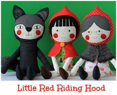 Play set of 3 handmade dolls Little Red Riding Hood - Stuffed toys - handmade dolls - Toys for kids