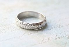 Flower & Vine Engraved Wedding Band  Vintage by ButtercupandCo, $65.00