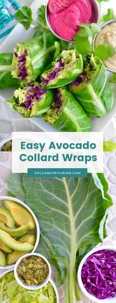 A simple and easy way to enjoy collard green wraps using fresh, healthy, no-cook, no-oil, no-added-salt ingredients. Learn easy techniqes to roll too! Wrap Recipes, Raw Food Recipes, Gourmet Recipes, Diet Recipes, Healthy Recipes, Recipies, Collard Green Wraps, Collard Greens, Red Cabbage Recipes