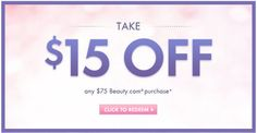 Beauty.com: $15 off $75 purchase