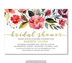 Bridal Shower Invitation   Floral Bridal by TracyAnnPrintables