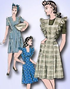 1940s Hollywood coverall apron pattern.