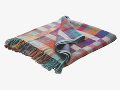 MONICA MULTI-COLOURED Linen silk blend Multi-coloured wool and silk throw - HabitatUK