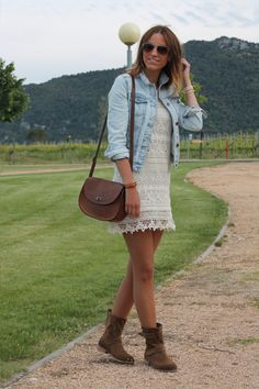 Pretty lace shift, denim jacket, leather cross body, aviators & suede boots. Love this easy outfit for fall.